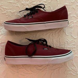 Authentic Maroon Vans sneakers